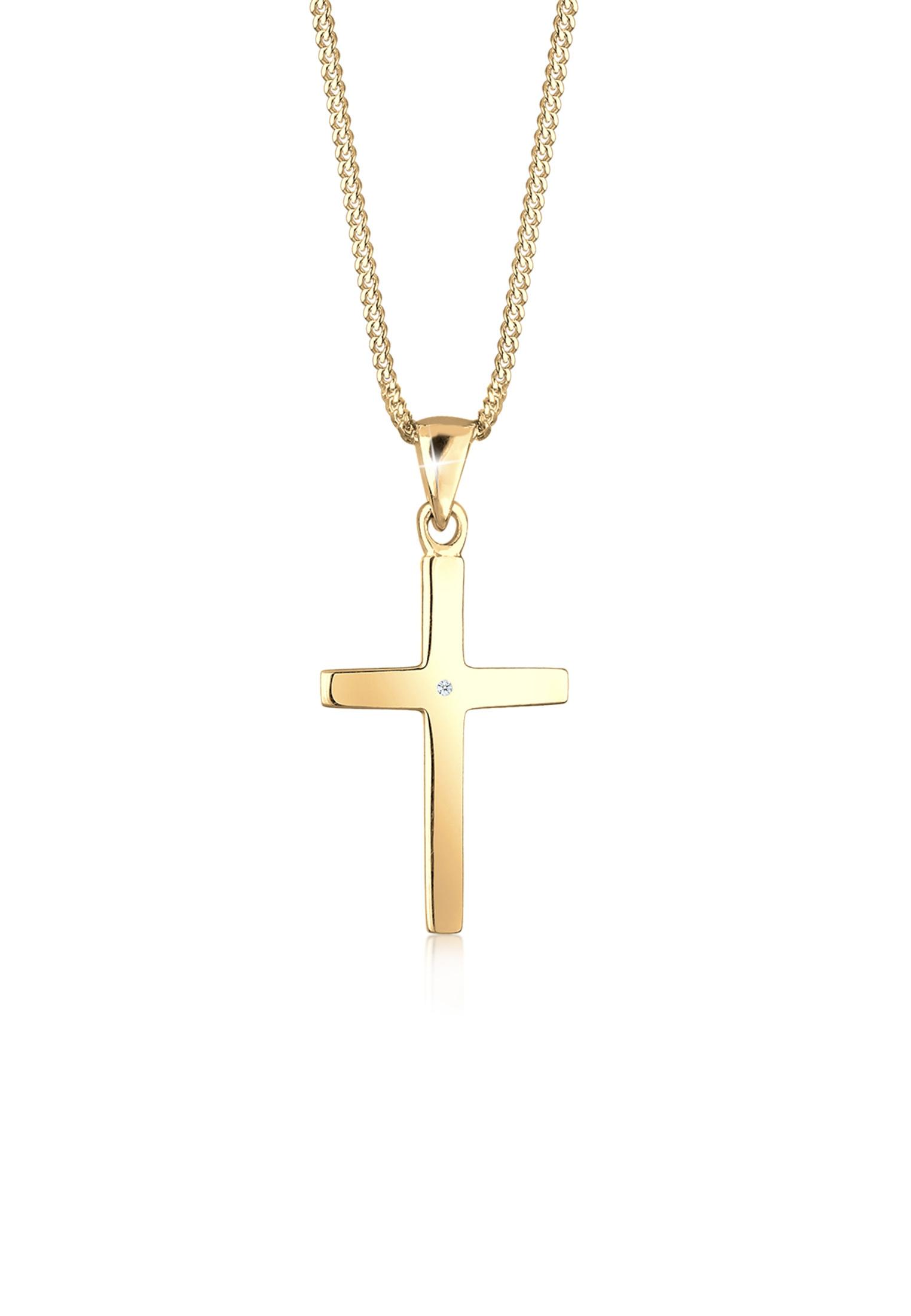 Halskette Kreuz   Diamant ( Weiß, 0,005 ct )   925er Sterling Silber
