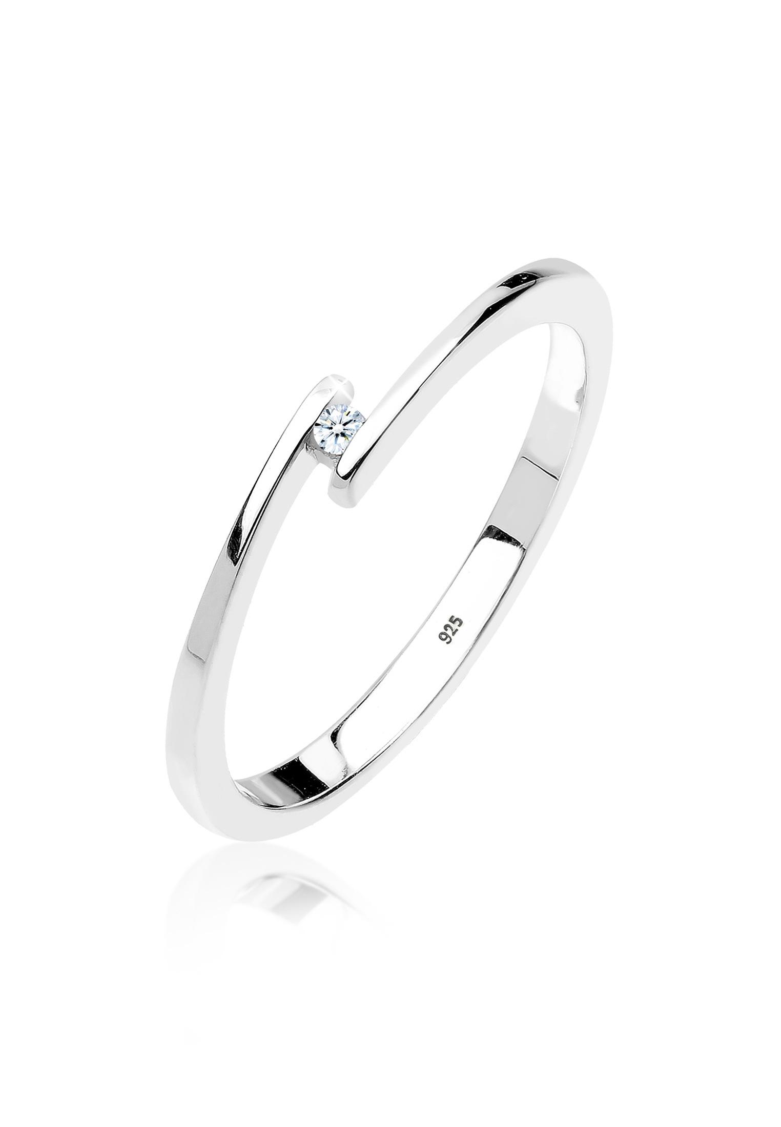 Solitär-Ring | Diamant ( Weiß, 0,015 ct ) | 925er Sterling Silber