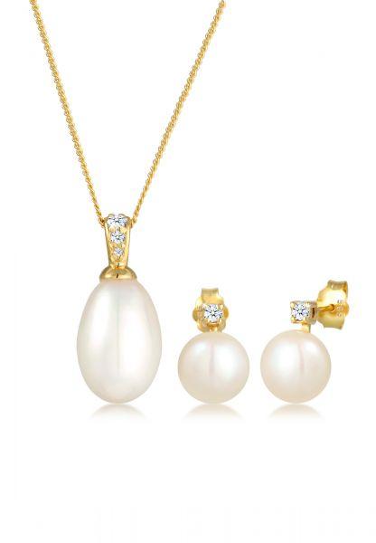 DIAMORE Schmuckset Klassisch Perle Diamant (0.11 ct.) 585 Gelbgold