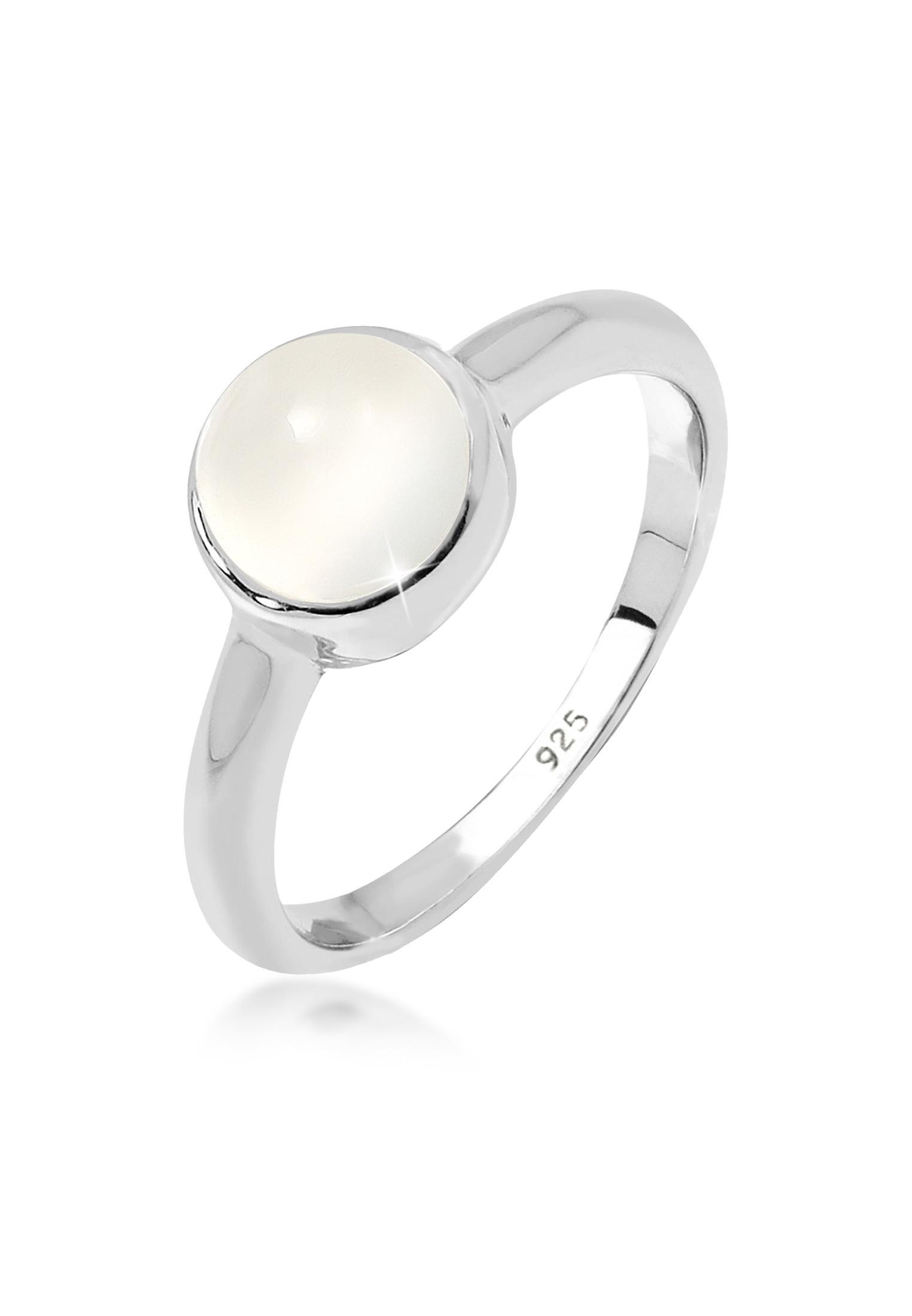 Solitär-Ring   Mondstein ( Weiß )   925er Sterling Silber