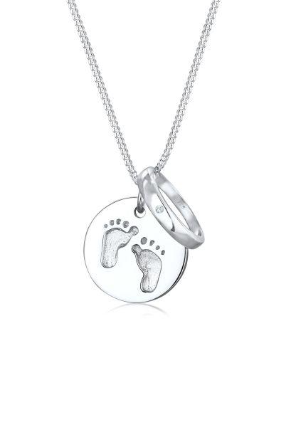 Elli Halskette Kinder Taufring Fußabdruck Plättchen 925 Silber