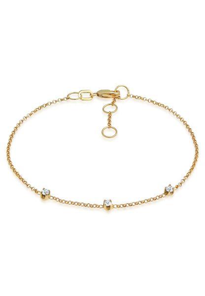 Elli DIAMONDS Armband Diamanten (0.09 ct.) Fein Erbskette 375 Gelbgold