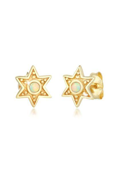 Elli Ohrringe Stern Astro Opal Vintage Style 925 Silber