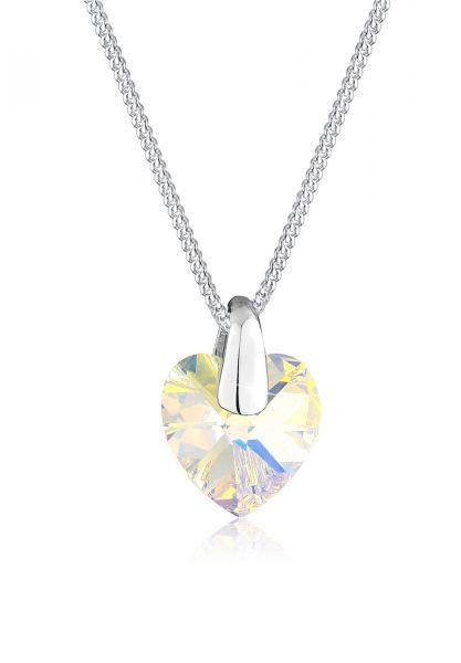 Halskette Herz | Kristall ( Weiß ) | 925er Sterling Silber