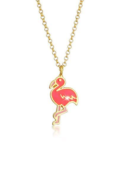 Elli Halskette Kinder Flamingo Emaille Bunt 925 Silber