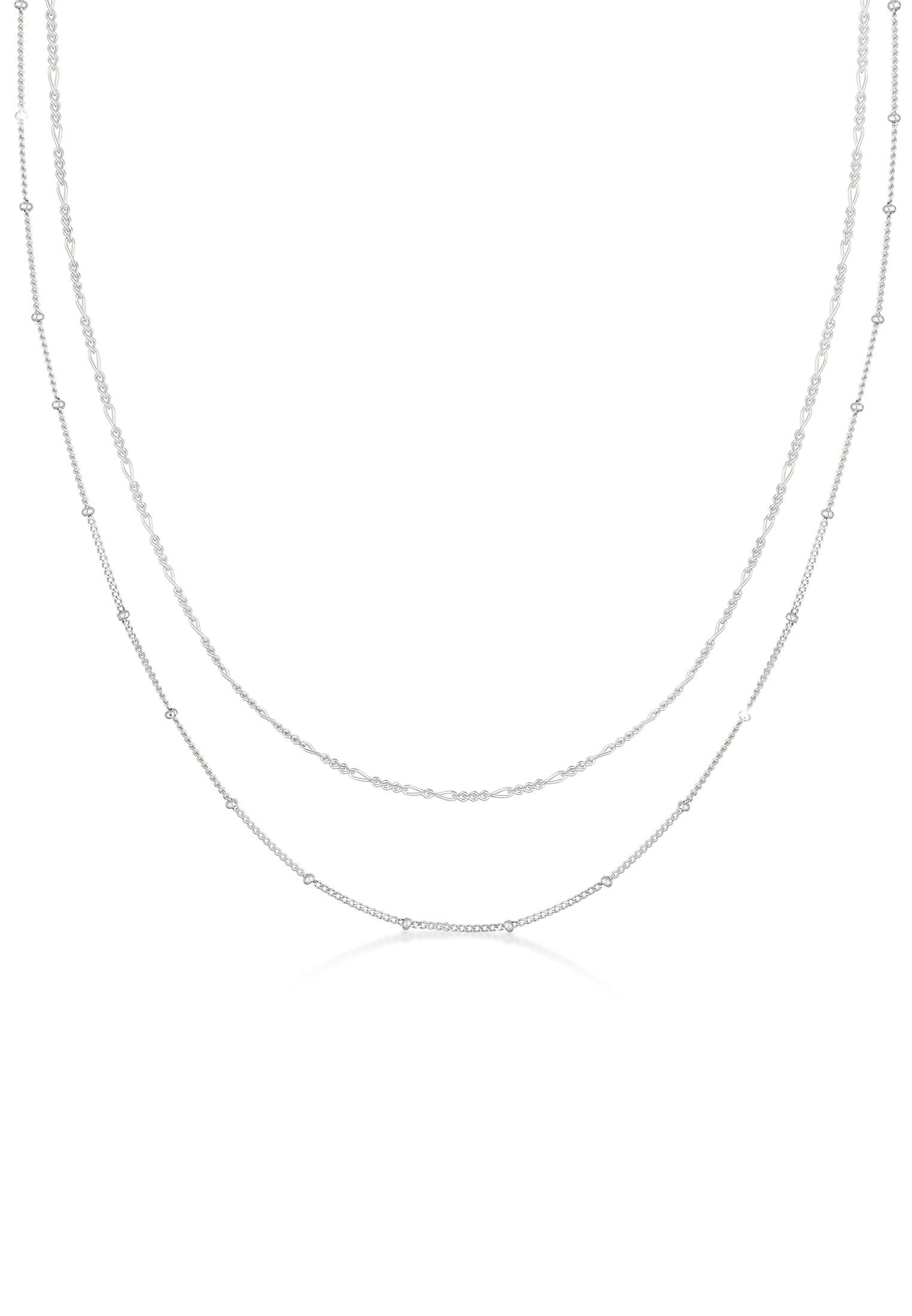 Choker 2er Set Kugel- & Figarokette   925er Sterling Silber
