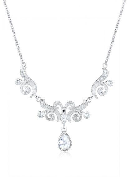 Halskette | Zirkonia ( Weiß ) | 925er Sterling Silber