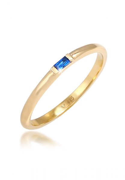 Elli PREMIUM Ring Geo Rechteck Synthetischer Saphir 925 Silber