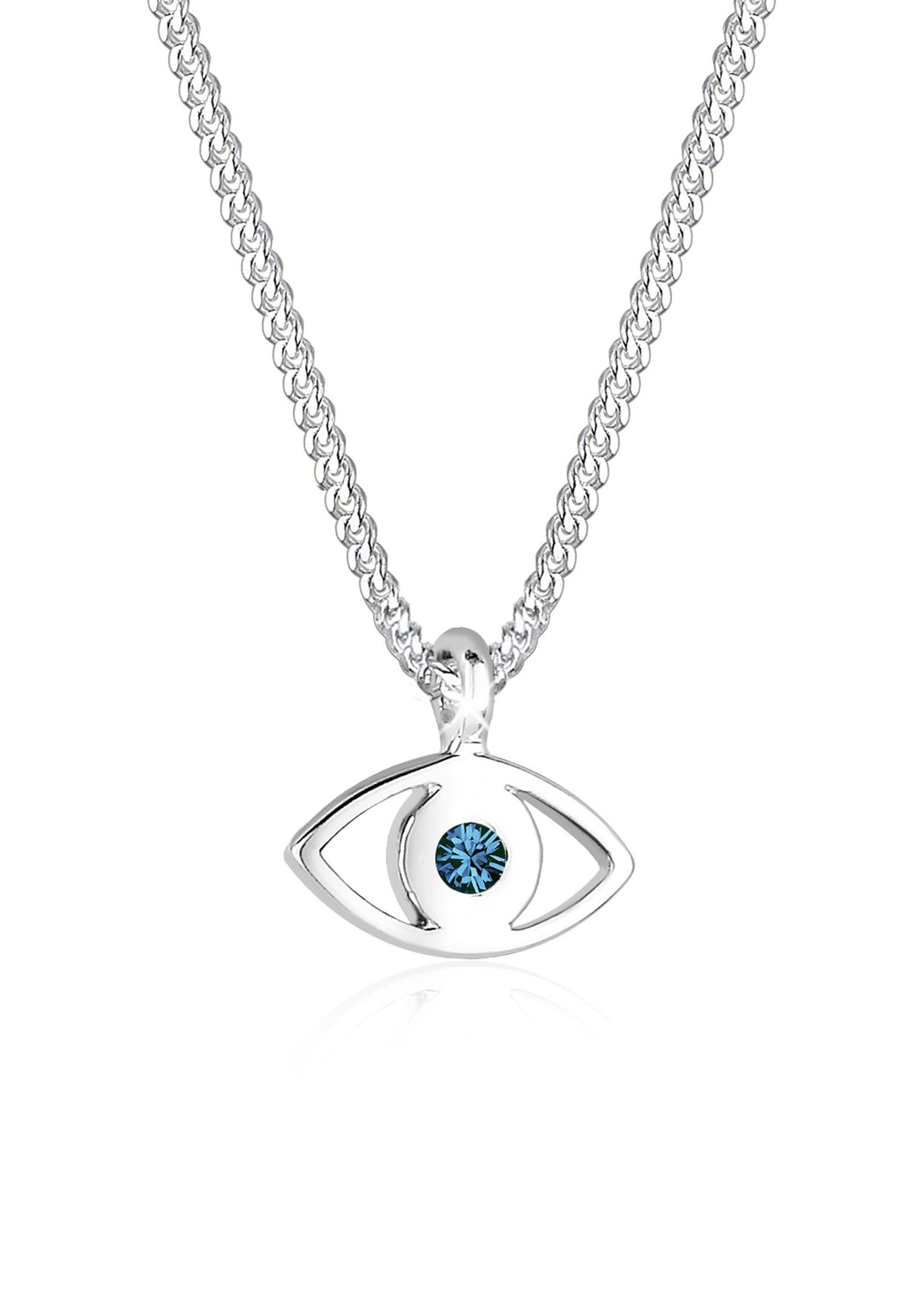 Halskette Evil Eye   Kristall ( Blau )   925er Sterling Silber