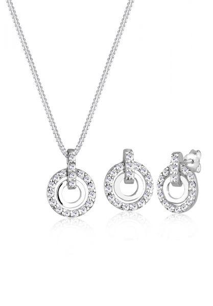 Schmuckset Kreis | Kristall ( Weiß ) | 925er Sterling Silber