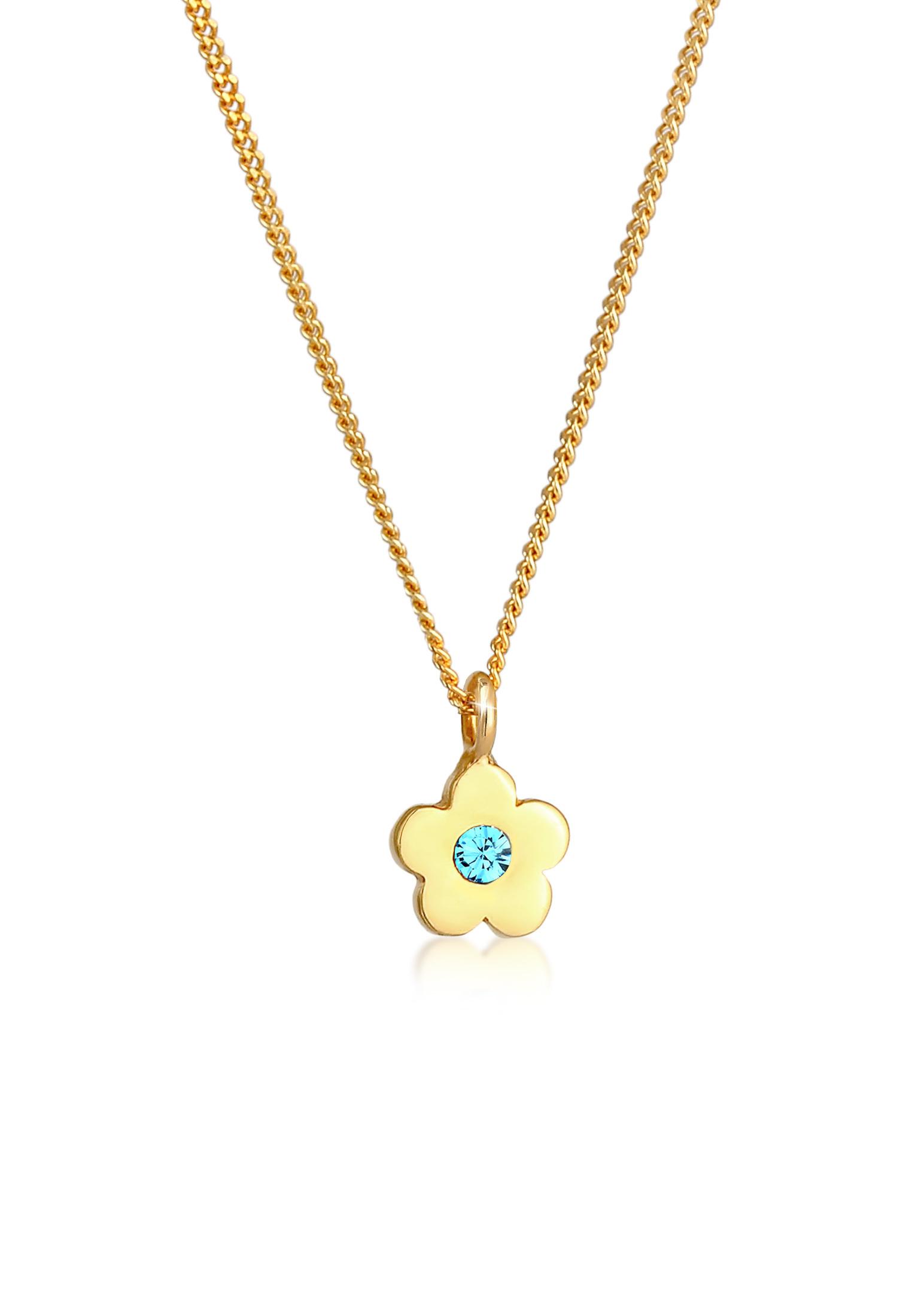 Halskette Blume | Kristall ( Hellblau ) | 925 Sterling Silber vergoldet