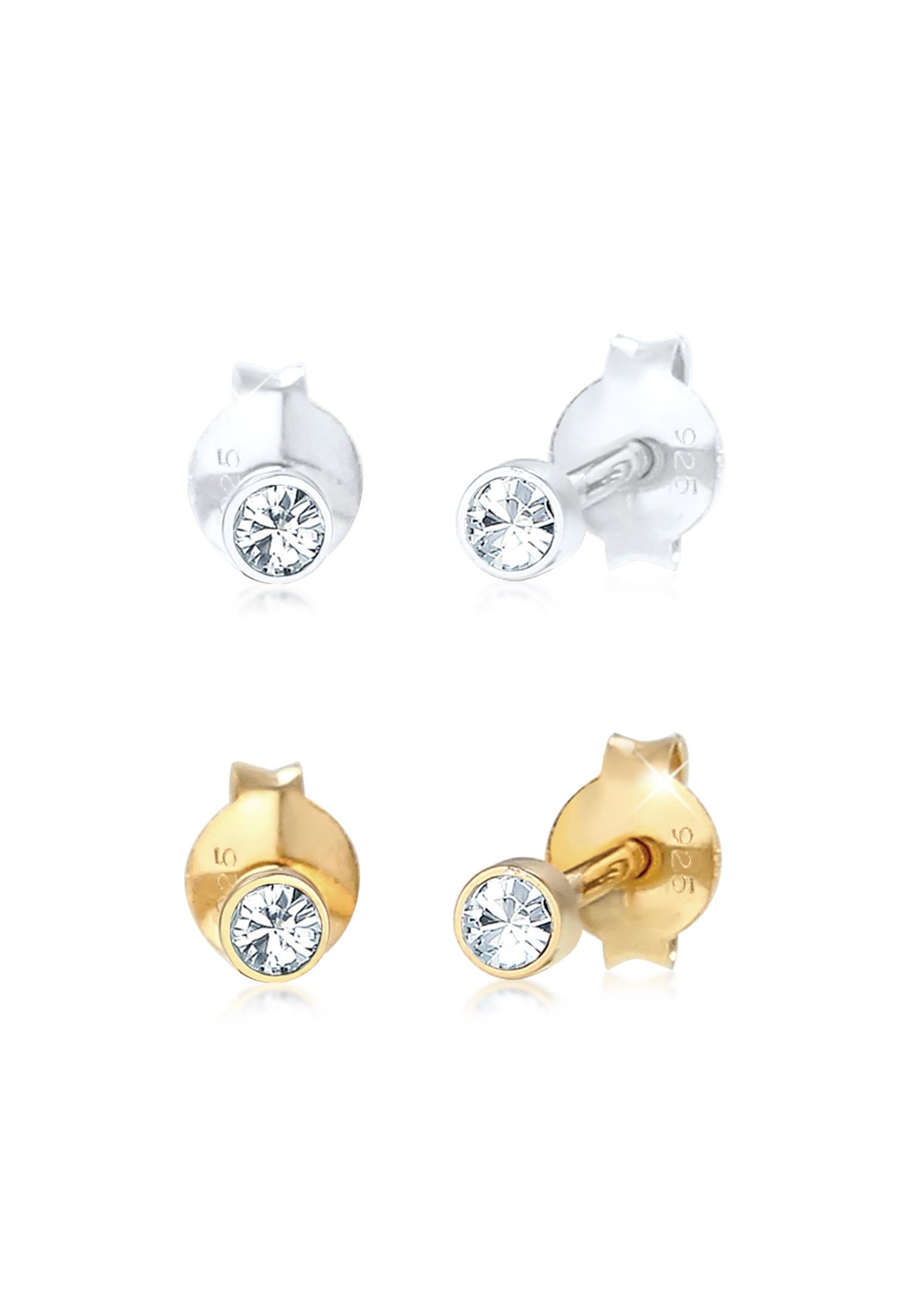 Ohrringset | Kristall ( Weiß ) | 925 Sterling Silber vergoldet