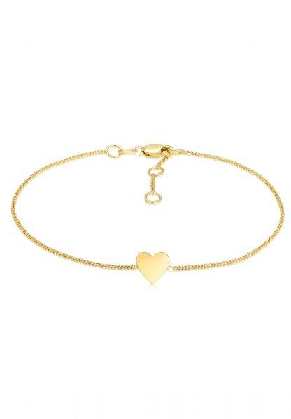 Elli PREMIUM Armband Valentinstag Herz Anhänger Liebe 375er Gelbgold