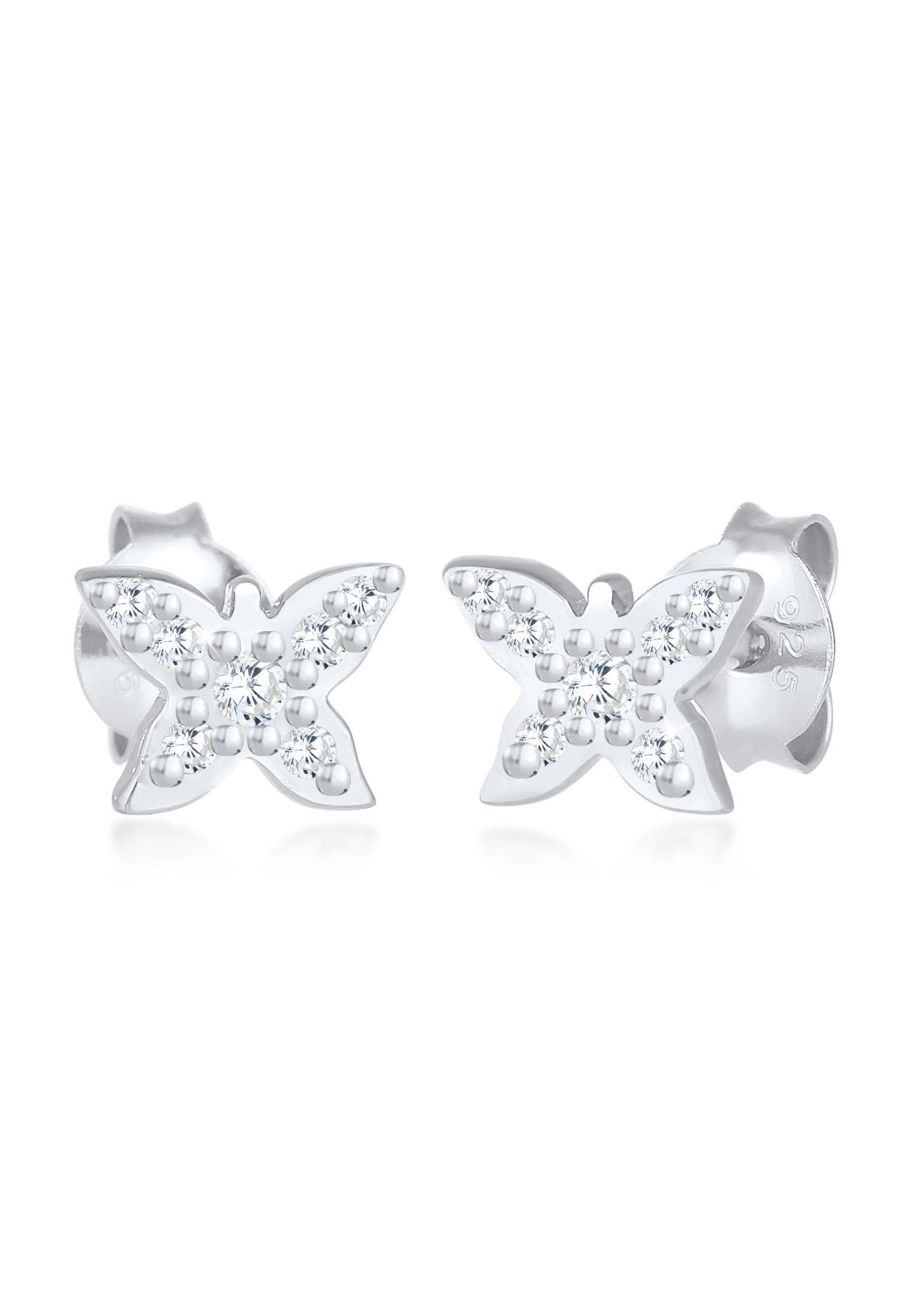 Ohrring Blume | Zirkonia ( Weiß ) | 925er Sterling Silber