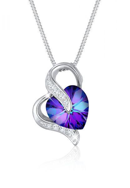 Elli Halskette Herz Zirkonia Kristalle Silber