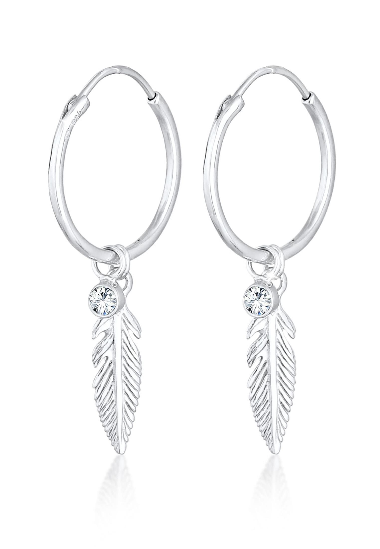 Creole Feder | Kristall ( Weiß ) | 925er Sterling Silber