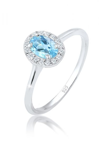 Elli PREMIUM Ring Verlobungsring Topas Diamant (0.08 ct.) 925 Silber