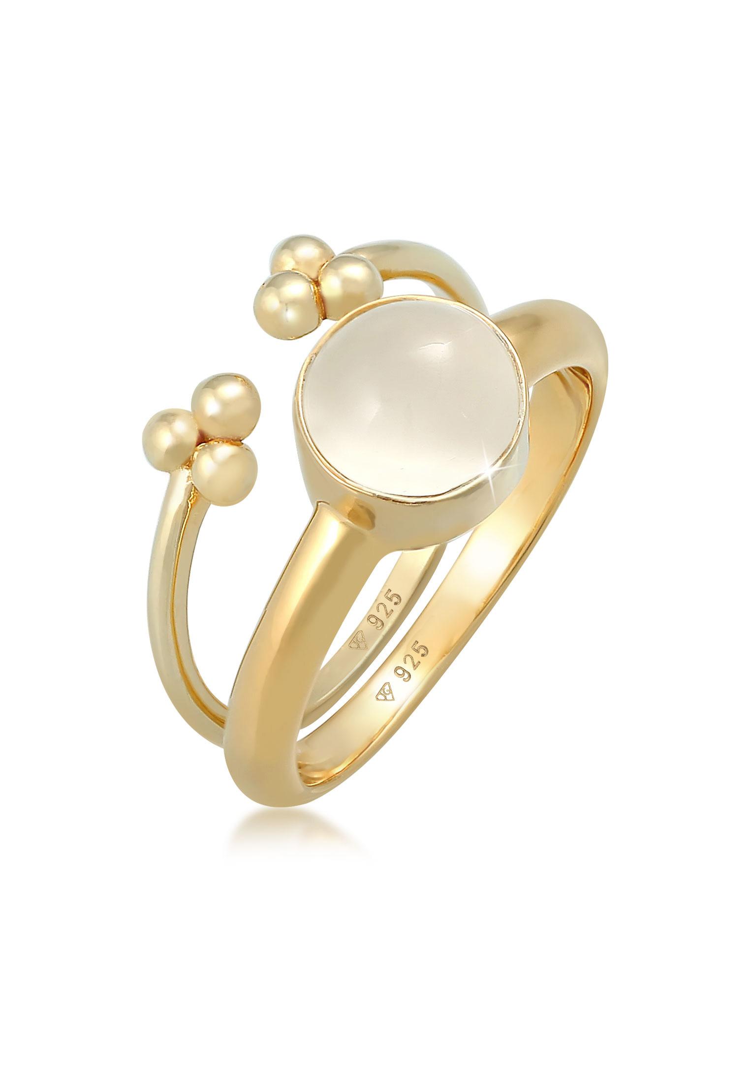 Ringset | Mondstein ( Weiß ) | 925 Sterling Silber vergoldet