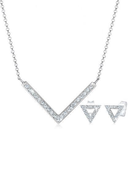 Elli Schmuckset Dreieck Geo Kristalle Edgy 925 Silber