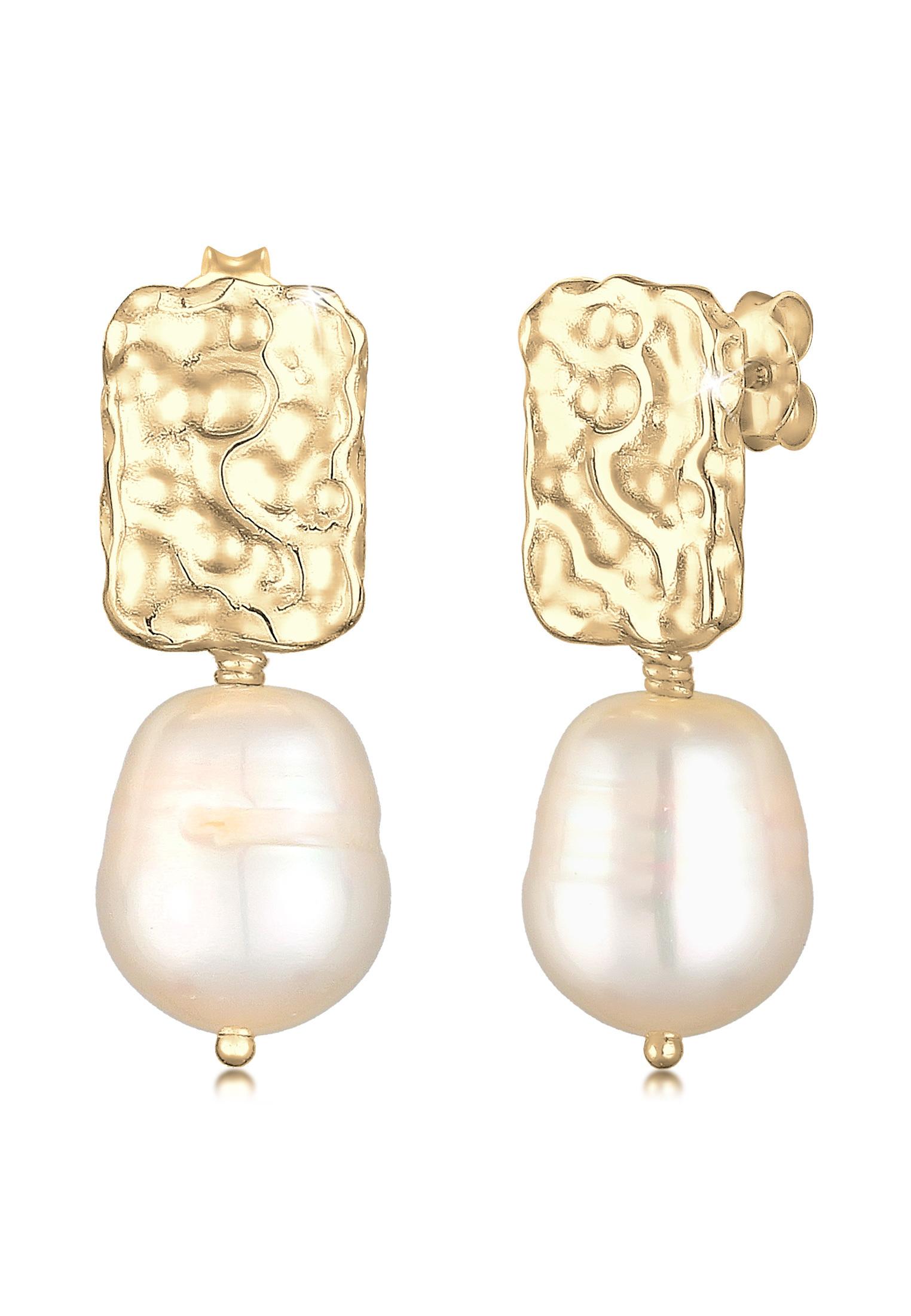 Ohrhänger | Süßwasserperle | 925 Sterling Silber vergoldet