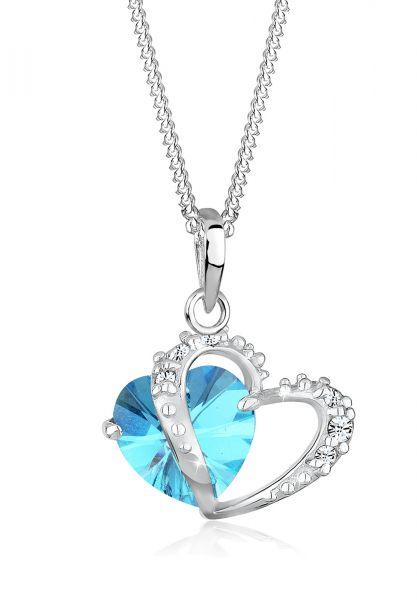 Elli Halskette Herz Symbol Kristalle 925 Silber