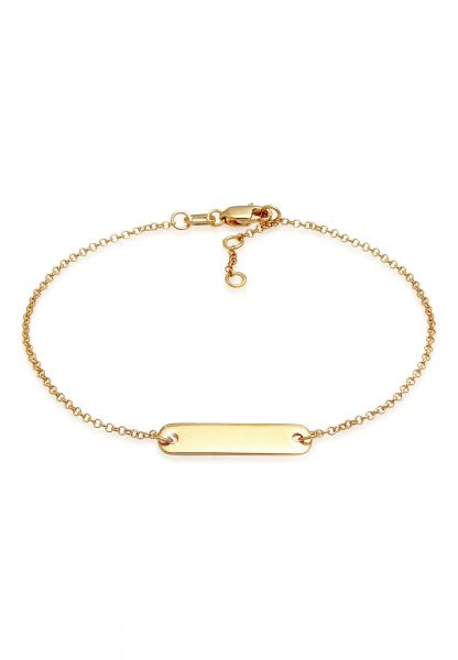Elli PREMIUM Armband ID-Armband mit gravierbarer Platte 375 Gelbgold