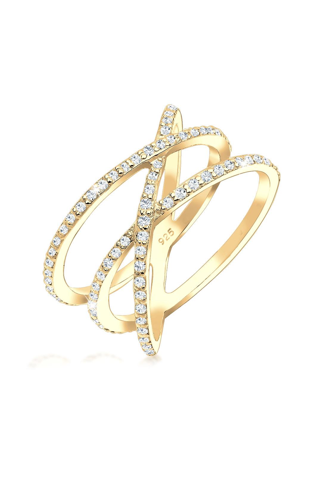 Ring Kreuz   Kristall ( Weiß )   925 Sterling Silber vergoldet
