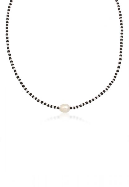 Glieder-Halskette   Süßwasserperle   925er Sterling Silber