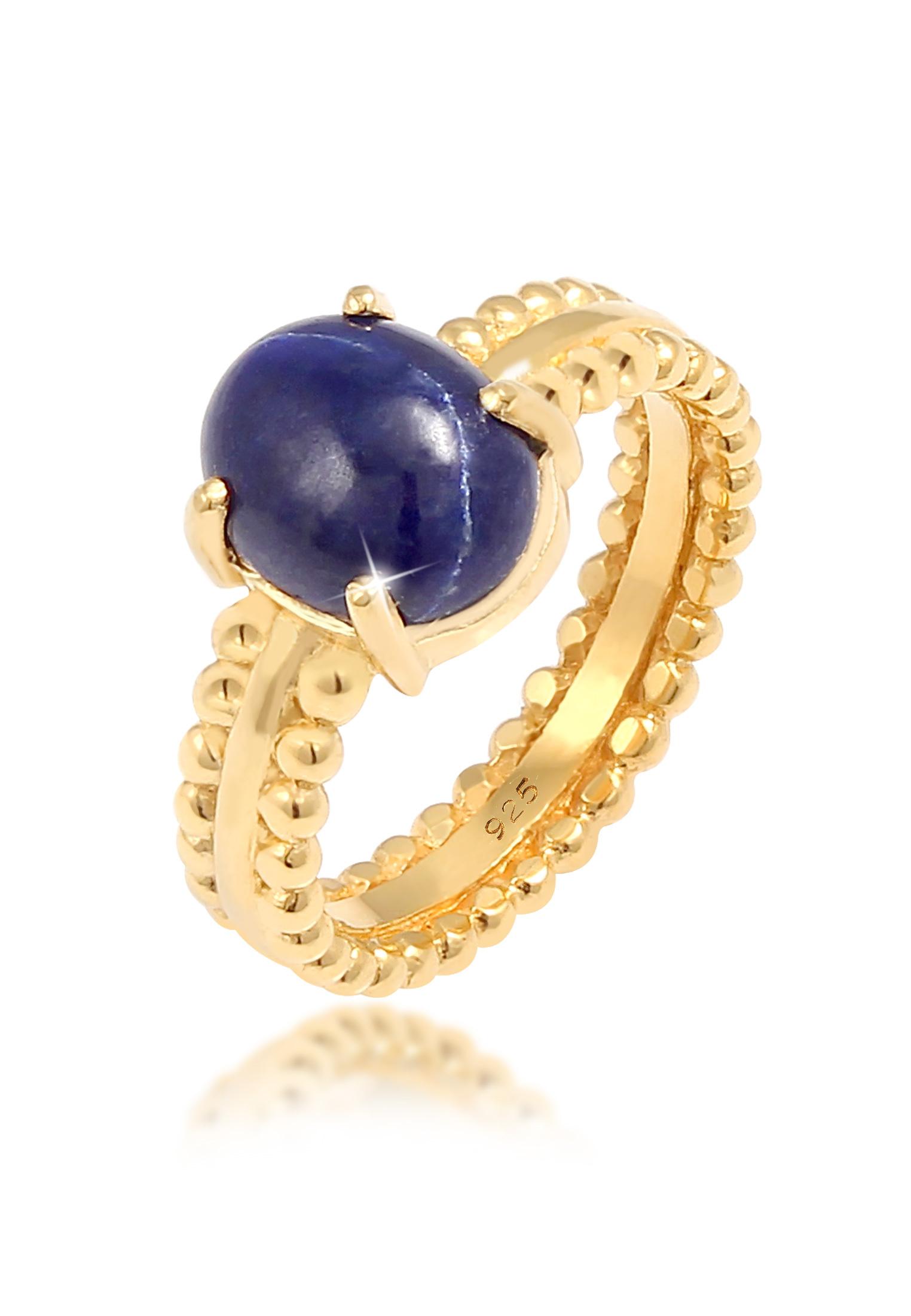 Ring   Lapis Lazuli ( Blau )   925 Sterling Silber vergoldet