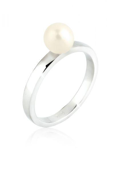 Elli Ring Süßwasserzuchtperle Ring 925 Sterling Silber
