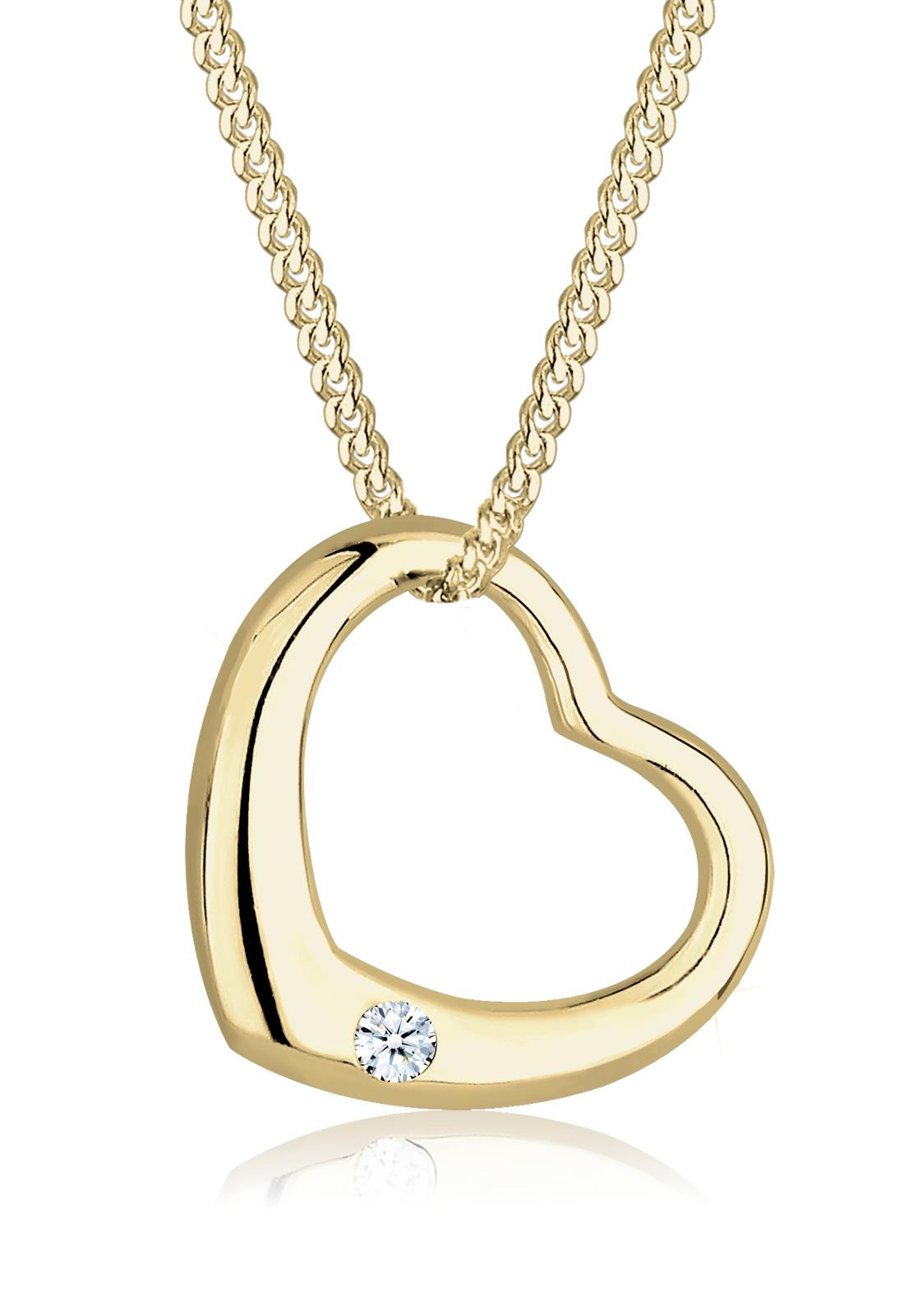 Halskette Herz   Diamant ( Weiß, 0,03 ct )   375 Gelbgold