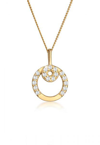 Elli PREMIUM Halskette Kreis Zirkonia 585 Gelbgold