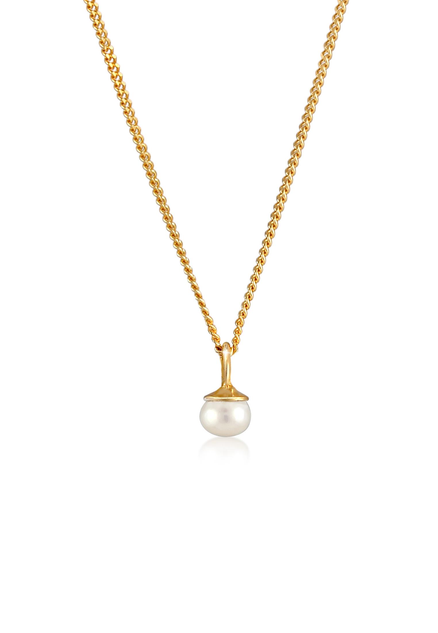Halskette | Süßwasserperle | 925 Sterling Silber vergoldet