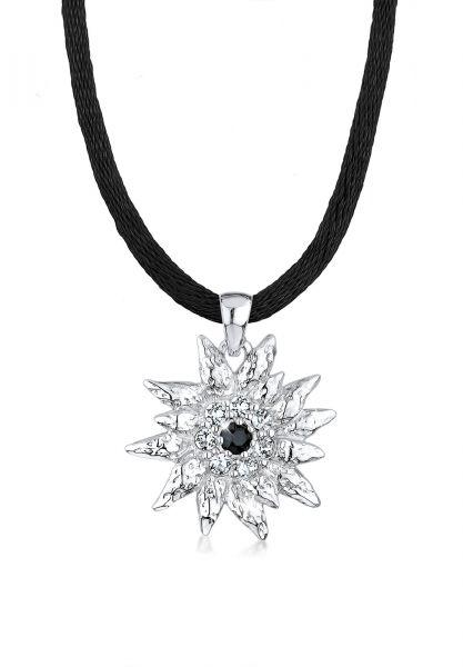 Glieder-Halskette Edelweiss   Kristall ( Weiß )   925er Sterling Silber