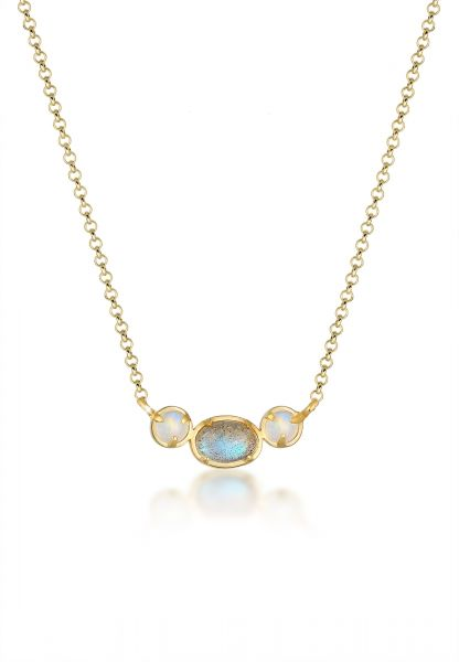 Halskette | Mondstein ( Weiß ) | 375 Gelbgold