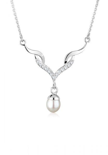 Elli Halskette Festlich Perle Zirkonia 925 Sterling Silber