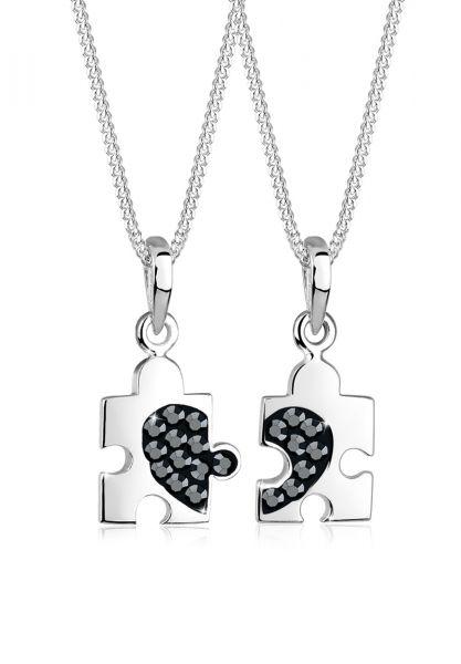 Elli Halskette Set Partner Puzzle Kristalle 925 Silber