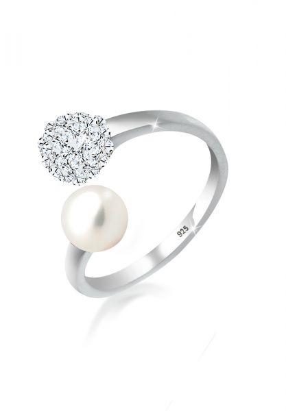 Elli Ring Statement Perle Kristalle 925 Silber