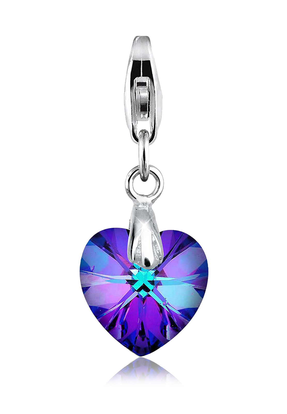 Charm Herz   Kristall ( Blau )   925er Sterling Silber