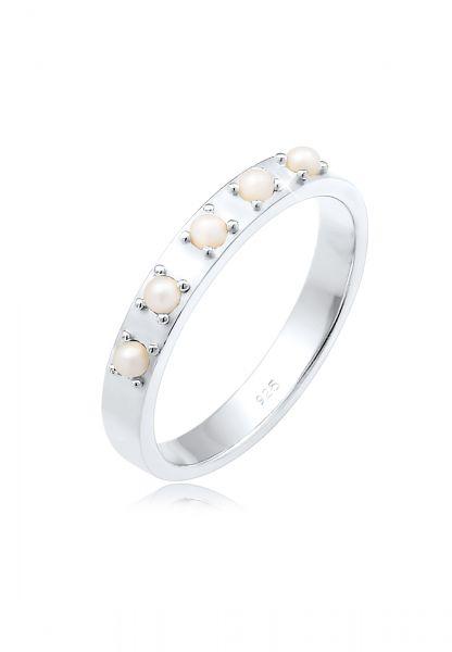 Elli Ring Bandring Synthetische Perlen 925 Silber