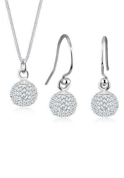 Schmuckset Kugel | Kristall ( Weiß ) | 925er Sterling Silber