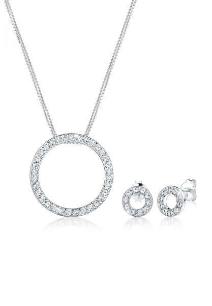 Elli Schmuckset Kreis Geo Circle Kristalle 925 Silber