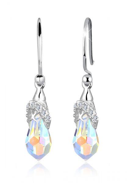 Ohrhänger Tropfen   Kristall ( Weiß )   925er Sterling Silber