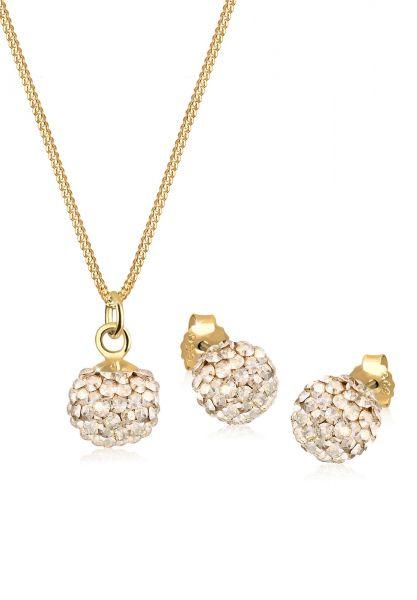 Schmuckset Kugel   Kristall ( Gold )   925 Sterling Silber vergoldet