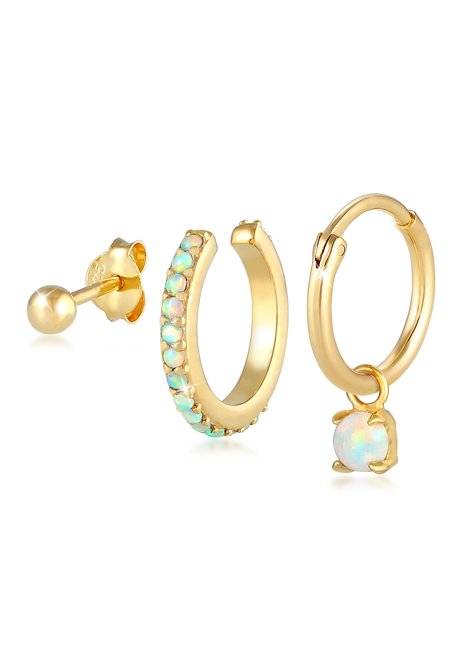 Ohrringset | Opal ( Weiß ) | 925 Sterling Silber vergoldet