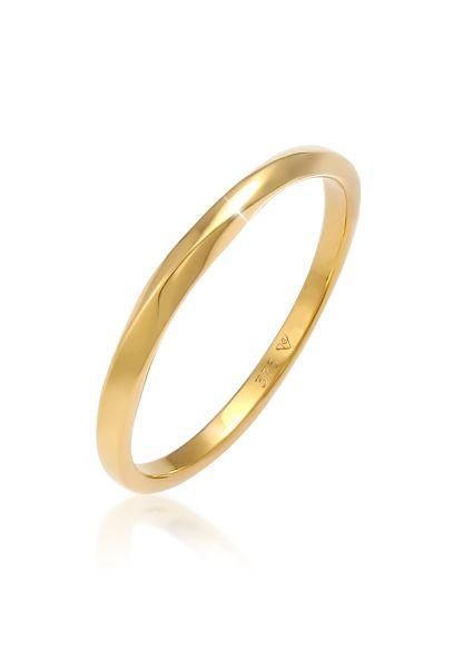 Elli PREMIUM Ring Basic Bandring Twist Gedreht Trend 375 Gelbgold