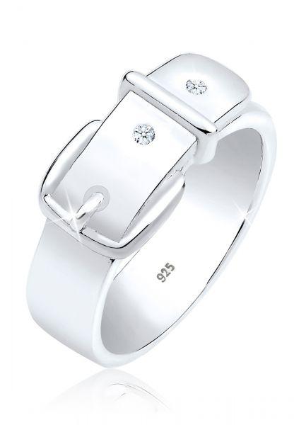 Ring Gürtel | Diamant ( Weiß, 0,03 ct ) | 925er Sterling Silber