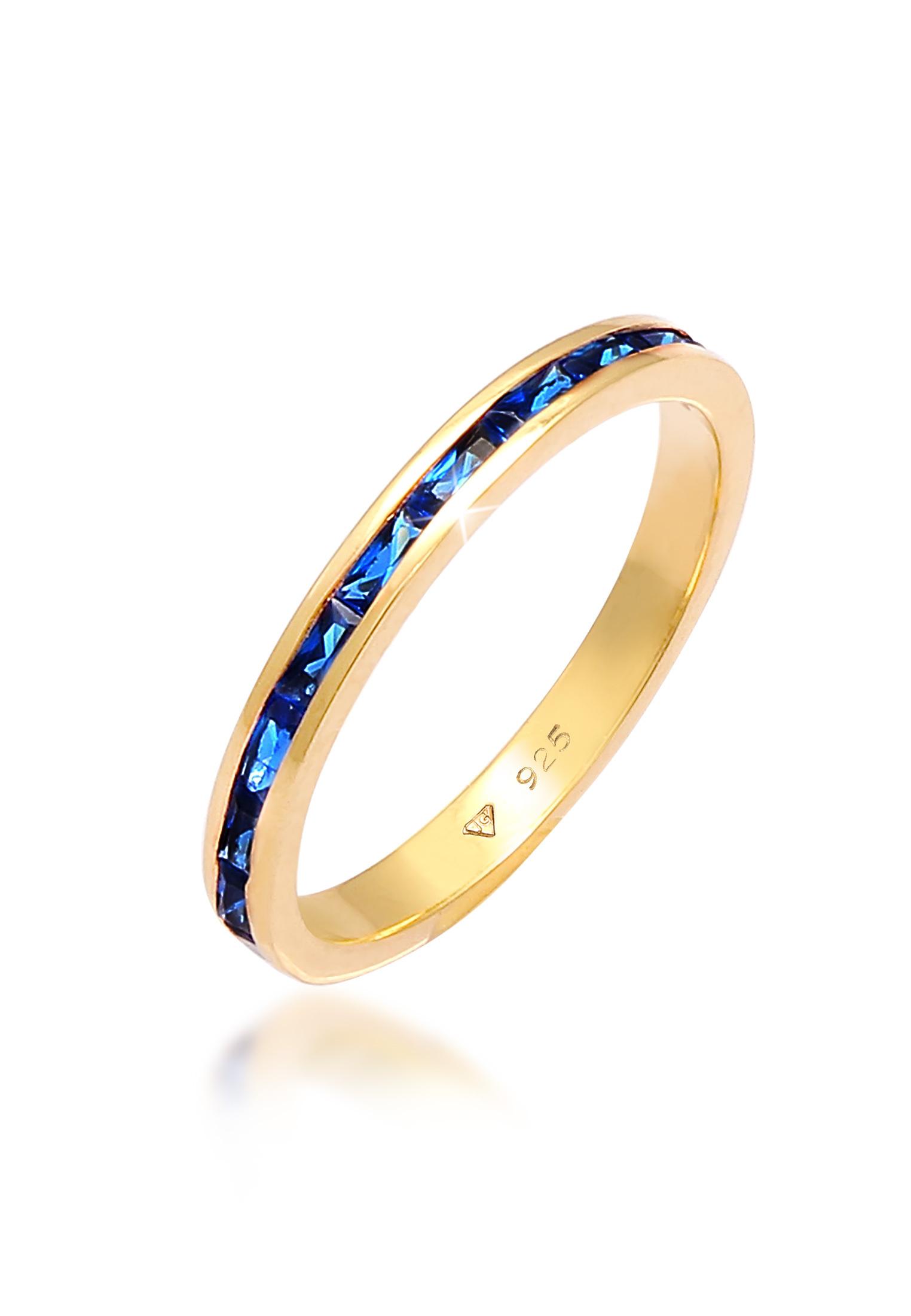 Bandring   Saphir ( Blau )   925 Sterling Silber vergoldet