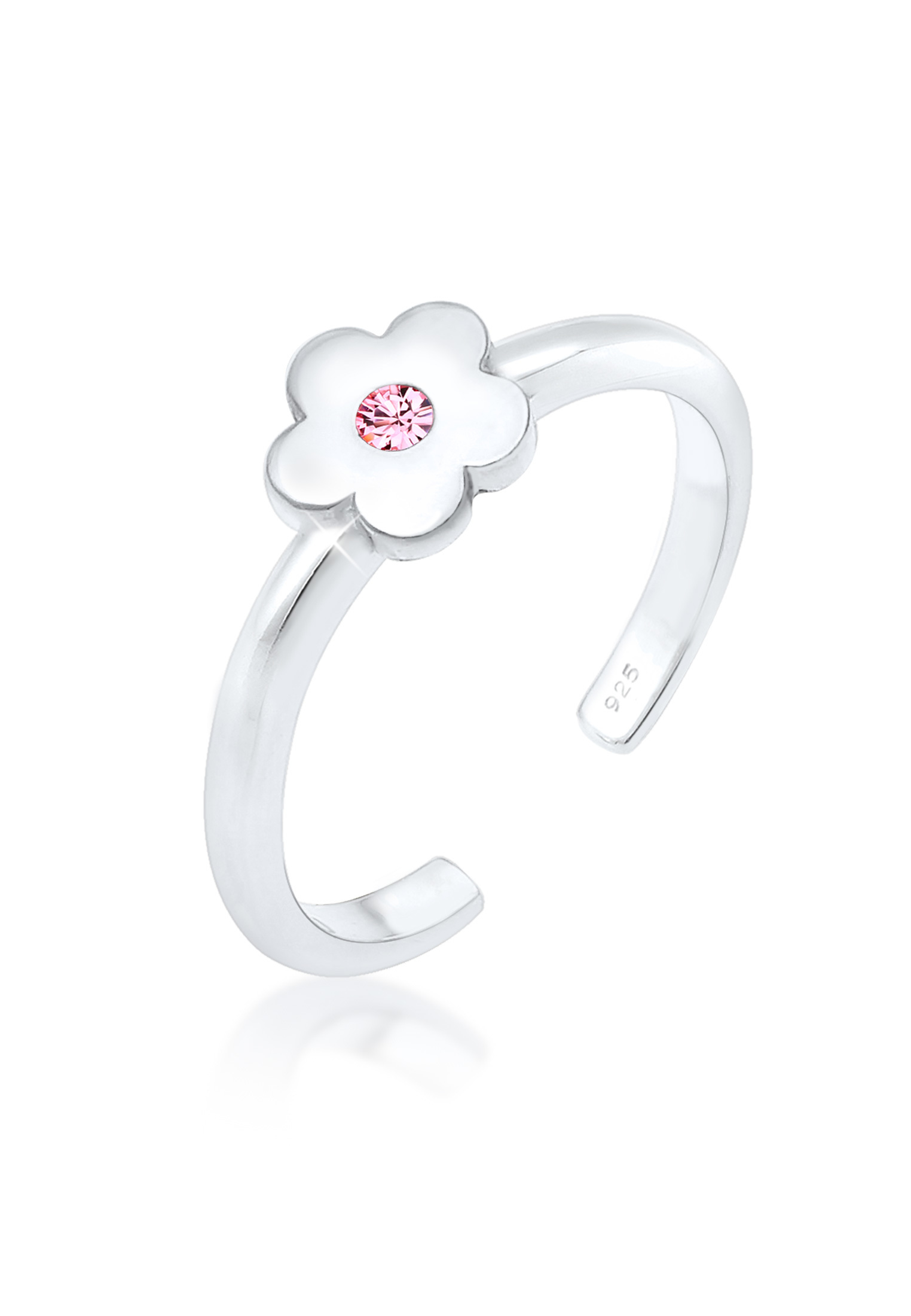 Ring Blume | Kristall ( Rosa ) | 925er Sterling Silber