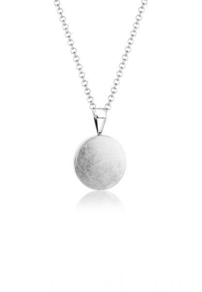 Nenalina Halskette Basic Geo Brushed Plättchen Anhänger 925 Silber